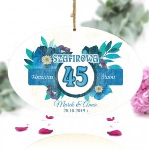 personalizowana tabliczka z nadrukiem dedykacji na prezent na 45 rocznicę ślubu rodziców