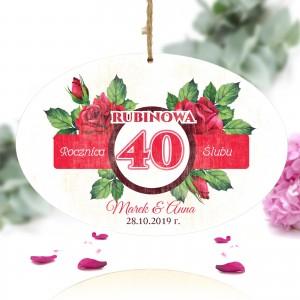 spersonalizowana tabliczka z kolorowym nadrukiem i dedykacją na prezent na 40 rocznicę ślubu przyjaciół