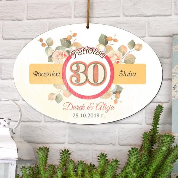 personalizowana  tabliczka z dedykacją na prezent na 30 rocznicę ślubu
