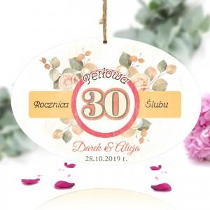 tabliczka z nadrukiem kolorowej dedykacji na prezent na 30 rocznicę ślubu rodziców