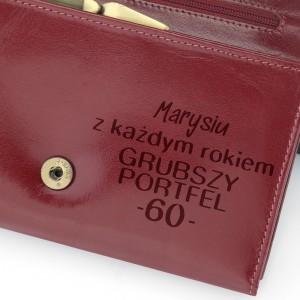skórzany portfel z grawerem na 60 urodziny
