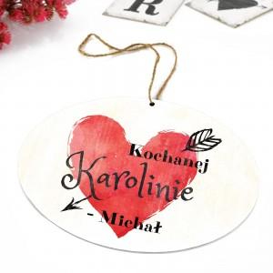 tabliczka z kolorowym nadrukiem dedykacji i zawieszką na prezent dla żony na walentynki