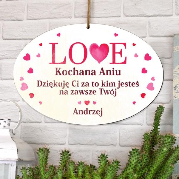 tabliczka z dedykacją na prezent dla ukochanej na walentynki