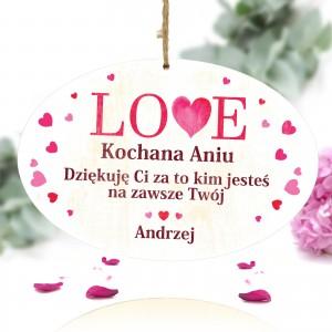 spersonalizowana tabliczka z kolorowym nadrukiem dedykacji na prezent dla żony na walentynki