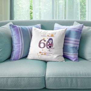 poduszka na prezent na 60 urodziny z nadrukiem imienia