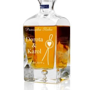 spersonalizowana grawerem dedykacji ekskluzywna karafka do whisky na prezent na ślub
