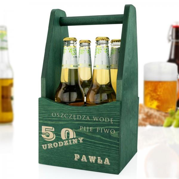 drewniana skrzynka na piwo na prezent na 50 urodziny