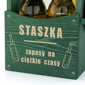 grawer dedykacji na drewnianej skrzynce  na piwo na prezent dla brata