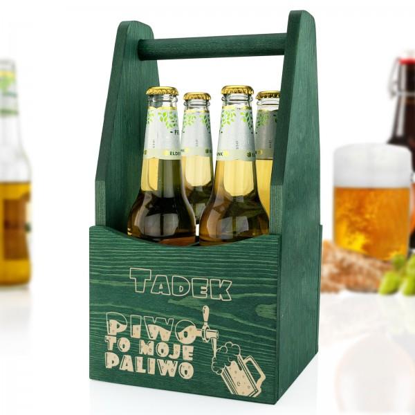 drewniana skrzynka z dedykacją na piwo na prezent dla szwagra