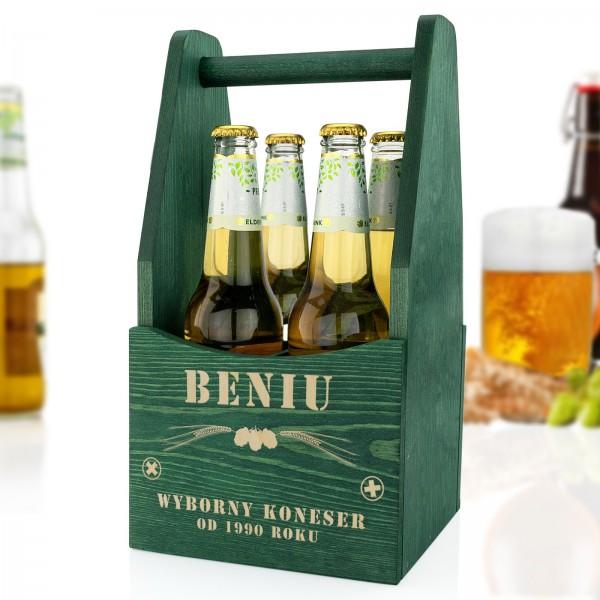 drewniana skrzynka na piwo na prezent urodzinowy dla szwagra