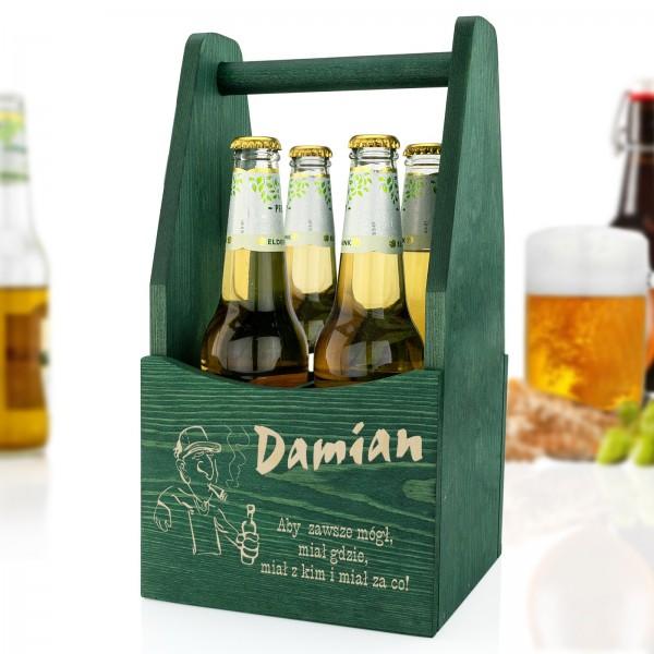 spersonalizowana drewniana skrzynka na piwo na prezent dla miłośnika piwa