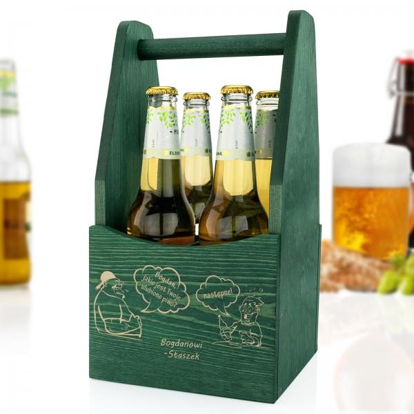 drewniana skrzynka na piwo z grawerem na prezent dla miłośnika piwa