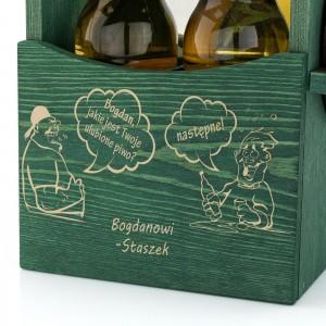 grawer dedykacji na drewnianej skrzynce na piwo na prezent dla przyjaciela