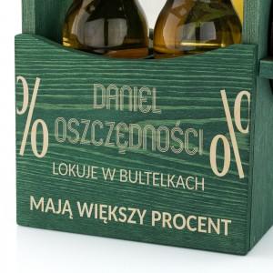 grawer dedykacji na prezent dla szwagra na drewnianej skrzynce na piwo z otwieraczem