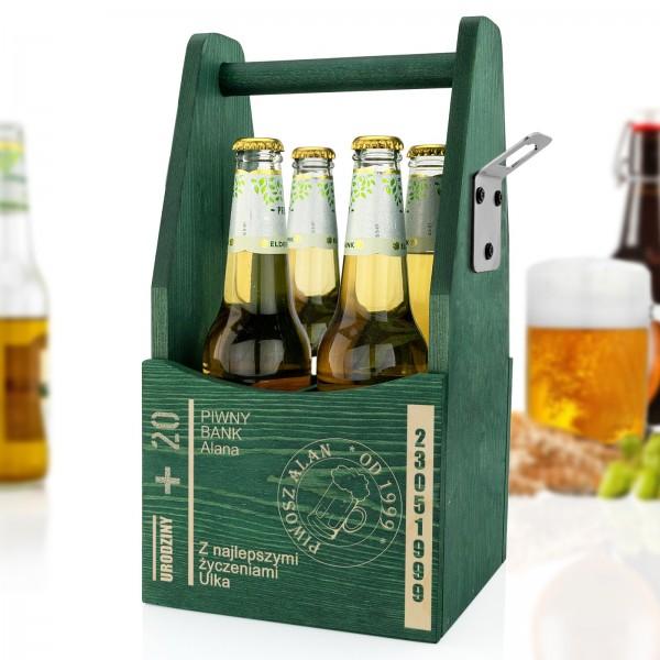 skrzynka na butelki z otwieraczem do piwa