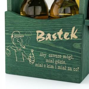grawer dedykacji na drewnianej skrzynce na piwo z otwieraczem na prezent dla miłośnika piwa