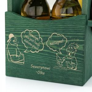 grawer dedykacji na drewnianej skrzynce na piwo z otwieraczem na prezent dla brata na wieczór kawalerski