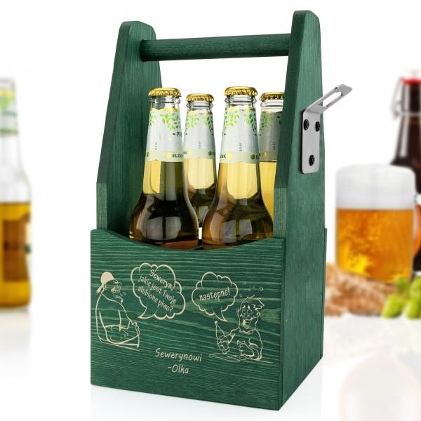drewniana skrzynka na piwo z grawerem dla niego