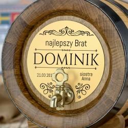 beczka dębowa na alkohol 4 litry z kranikiem i tabliczką z grawerem personalizowanym najlepszy brat