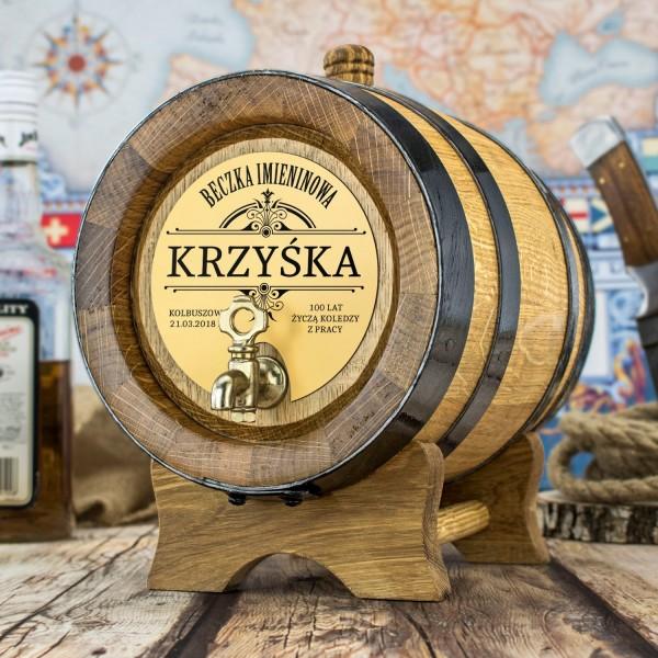 beczka dębowa na alkohol 4 litry z grawerem dedykacji na imieniny