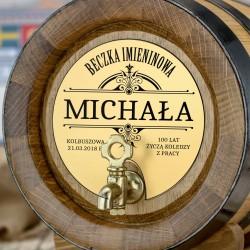 przód beczka dębowa na alkohol 4 litry z grawerem imienia, daty i napisu beczka imieninowa