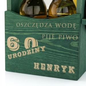 grawer dedykacji z okazji 60 urodzin na skrzynce drewnianej na piwo na prezent na 60 szwagra