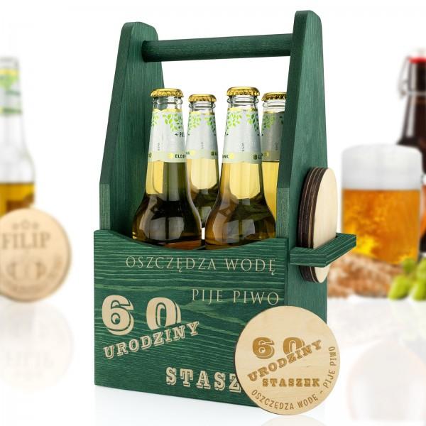 drewniana skrzynka na piwo z grawerem na urodziny dla niego