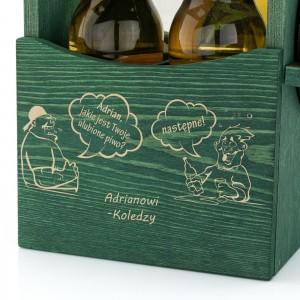 grawer dedykacji z okazji 60 urodzin na skrzynce drewnianej na piwo na prezent dla szwagra