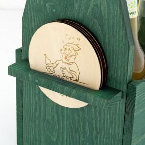 zielona skrzynka na piwo z 4 podkładkami na prezent dla przyjaciela