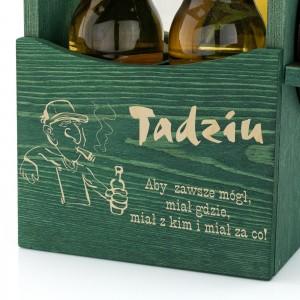 grawer dedykacji z okazji imienin na skrzynce drewnianej na piwo na prezent dla szwagra na imieniny
