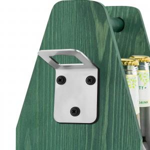 zielona drewniana skrzynka nosidło na piwo z metalowym otwieraczem do butelek
