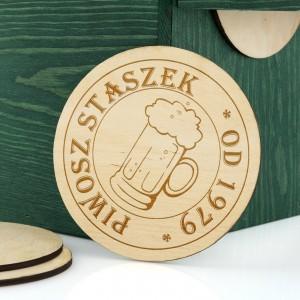 podkładki pod piwo z grawerem  dedykacji na 40  na prezent dla kolegi