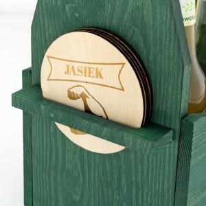 zielona skrzynka na piwo z 4 podkładkami na prezent dla brata na wieczór kawalerski