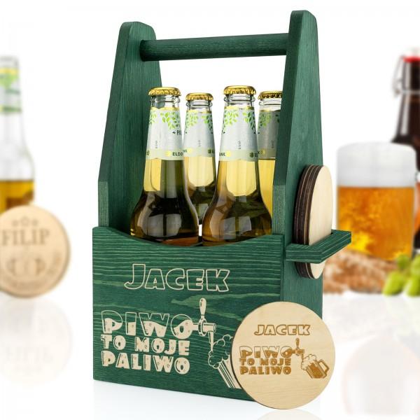 zielona skrzynka nosidło na piwo z grawerem dla niego