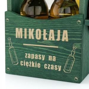 grawer dedykacji z okazji imienin na skrzynce drewnianej na piwo na prezent dla kolegi na imieniny