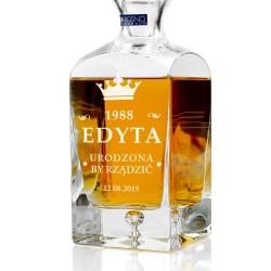 spersonalizowana grawerem dedykacji ekskluzywna karafka do whisky na prezent dla niej na urodziny