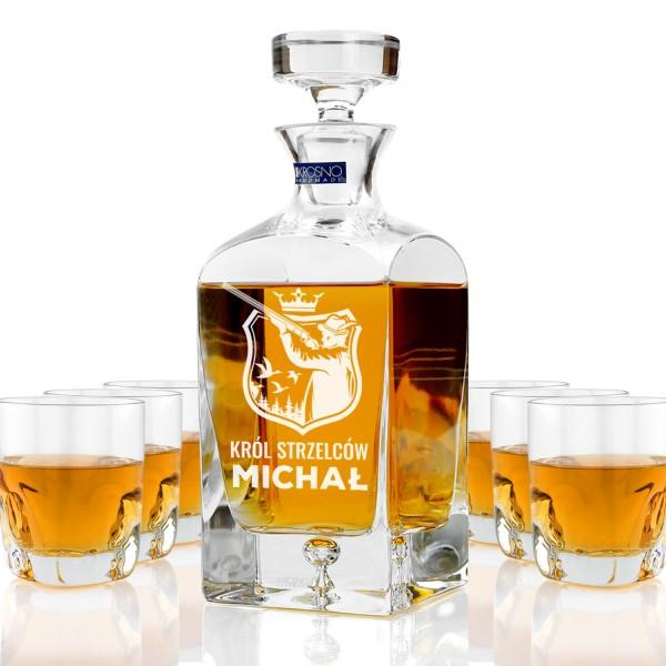ekskluzywna karafka ze szklankami do whisky z grawerem personalizacji na prezent dla myśliwego