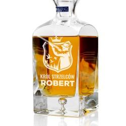 spersonalizowana grawerem dedykacji ekskluzywna karafka do whisky na prezent dla myśliwego na urodziny