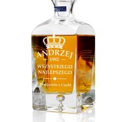 spersonalizowana grawerem dedykacji ekskluzywna karafka do whisky na prezent dla niego na urodziny