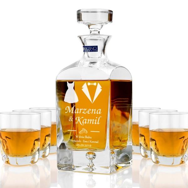 ekskluzywna karafka ze szklankami do whisky z grawerem personalizacji na prezent na ślub dla młodej paryspersonalizowana grawerem dedykacji ekskluzywna karafka do whisky na prezent dla młodej pary