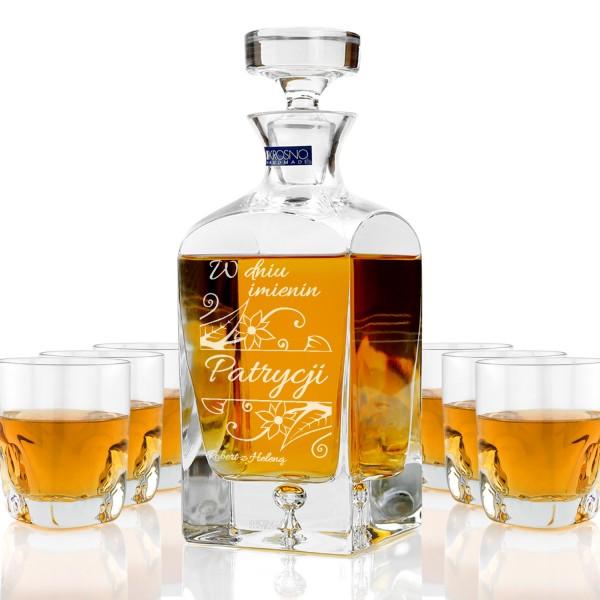 ekskluzywna karafka ze szklankami do whisky z grawerem personalizacji na prezent na imieniny dla kobiety