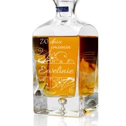spersonalizowana grawerem dedykacji ekskluzywna karafka do whisky na prezent imieninowy dla narzeczonej