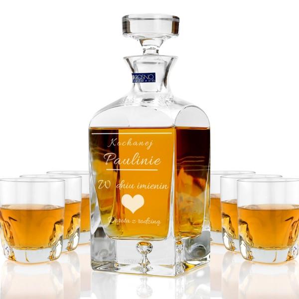 ekskluzywna karafka ze szklankami do whisky z grawerem personalizacji na prezent na imieniny dla zony