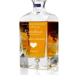 spersonalizowana grawerem dedykacji ekskluzywna karafka do whisky na prezent imieninowy dla ukochanej