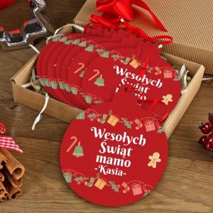 zestaw 8 czerwonych bombek z nadrukiem dedykacji i pudełkiem na prezent dla mamy na mikołajki