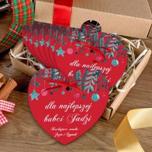 zestaw 8 czerwonych serduszek z nadrukiem dedykacji i pudełkiem na prezent dla na mikołajkowy dla babci