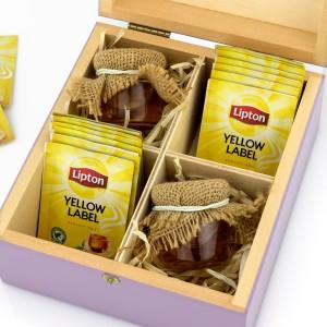 zestaw prezentowy w skrzynce 10 torebek herbat i 2 słoiczki miodu na prezent dla dziadków