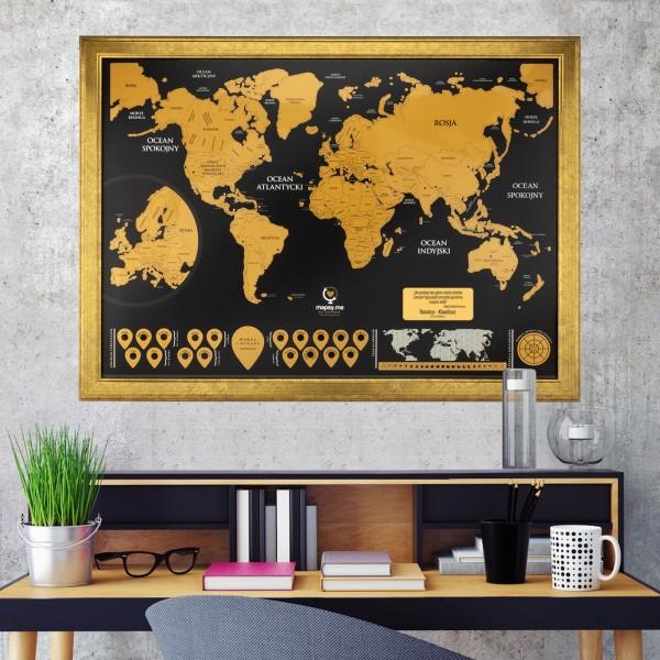 mapa zdrapka świata w złotej ramie z dedykacja na prezent dla kobiety czynu