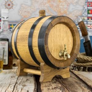 beczka dębowa z kranikiem mosiężnym - na alkohol o pojemności 2 litrów