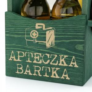 drewniana skrzynka na piwo z nadrukiem dedykacji